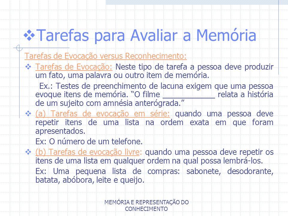 MEMÓRIA E REPRESENTAÇÃO DO CONHECIMENTO Tarefas para Avaliar a Memória Tarefas de Evocação versus Reconhecimento: Tarefas de Evocação: Neste tipo de t