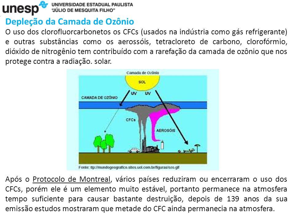 Depleção da Camada de Ozônio O uso dos clorofluorcarbonetos os CFCs (usados na indústria como gás refrigerante) e outras substâncias como os aerossóis, tetracloreto de carbono, clorofórmio, dióxido de nitrogênio tem contribuído com a rarefação da camada de ozônio que nos protege contra a radiação.