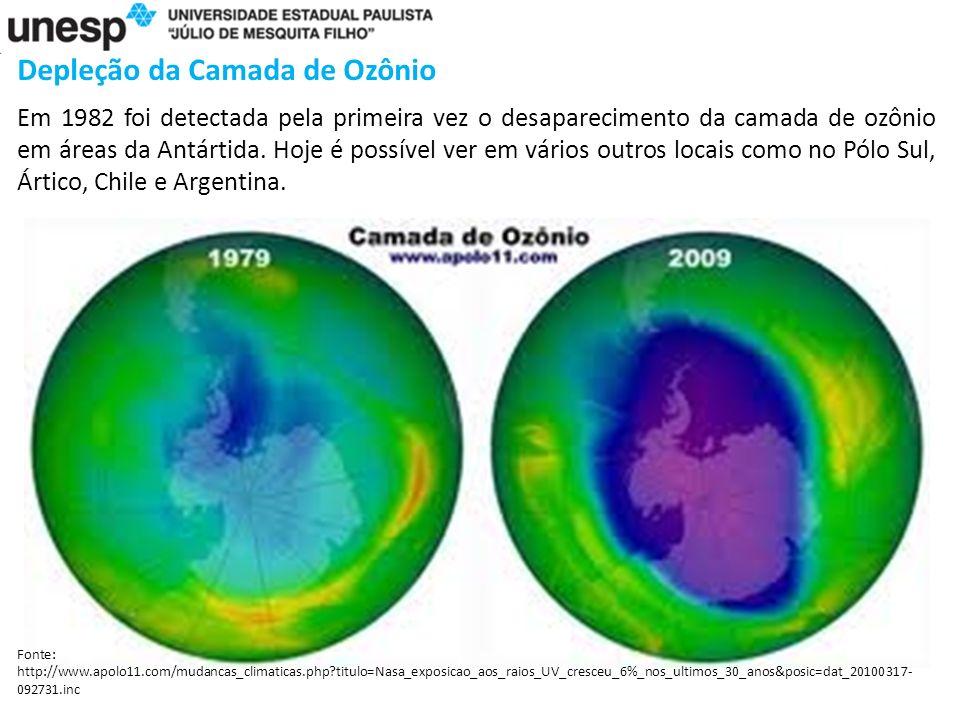 Depleção da Camada de Ozônio Em 1982 foi detectada pela primeira vez o desaparecimento da camada de ozônio em áreas da Antártida.