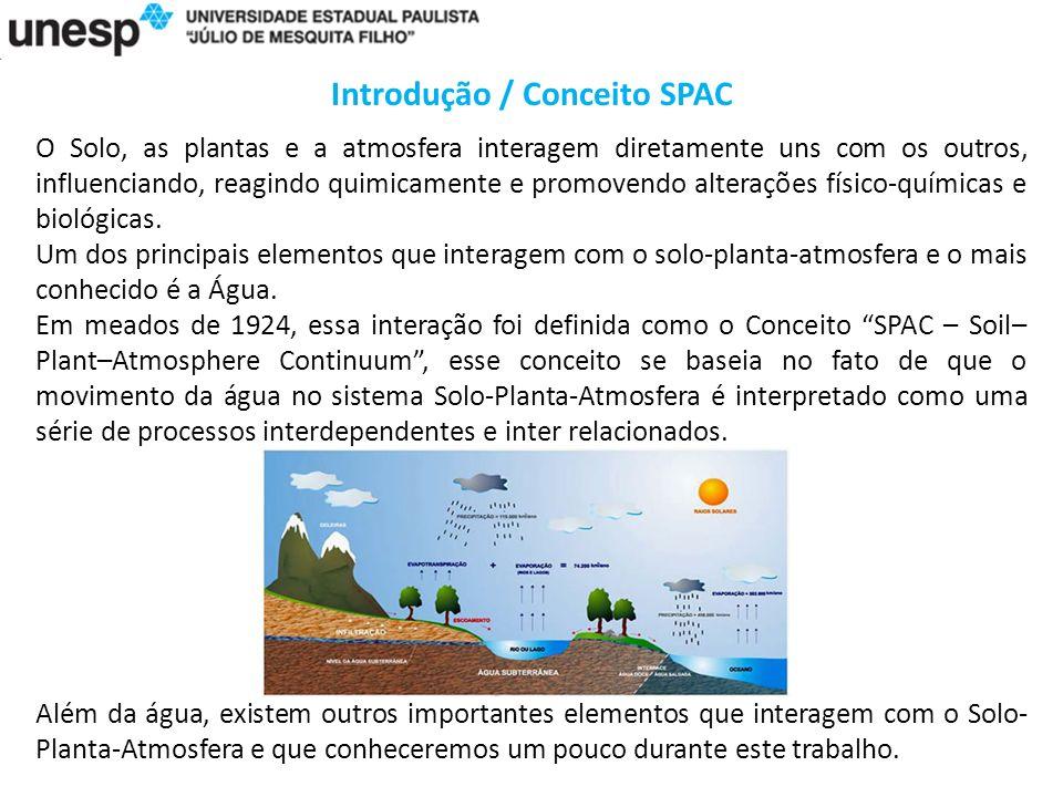 Introdução / Conceito SPAC O Solo, as plantas e a atmosfera interagem diretamente uns com os outros, influenciando, reagindo quimicamente e promovendo alterações físico-químicas e biológicas.