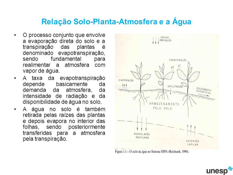 Relação Solo-Planta-Atmosfera e a Água O processo conjunto que envolve a evaporação direta do solo e a transpiração das plantas é denominado evapotranspiração, sendo fundamental para realimentar a atmosfera com vapor de água.