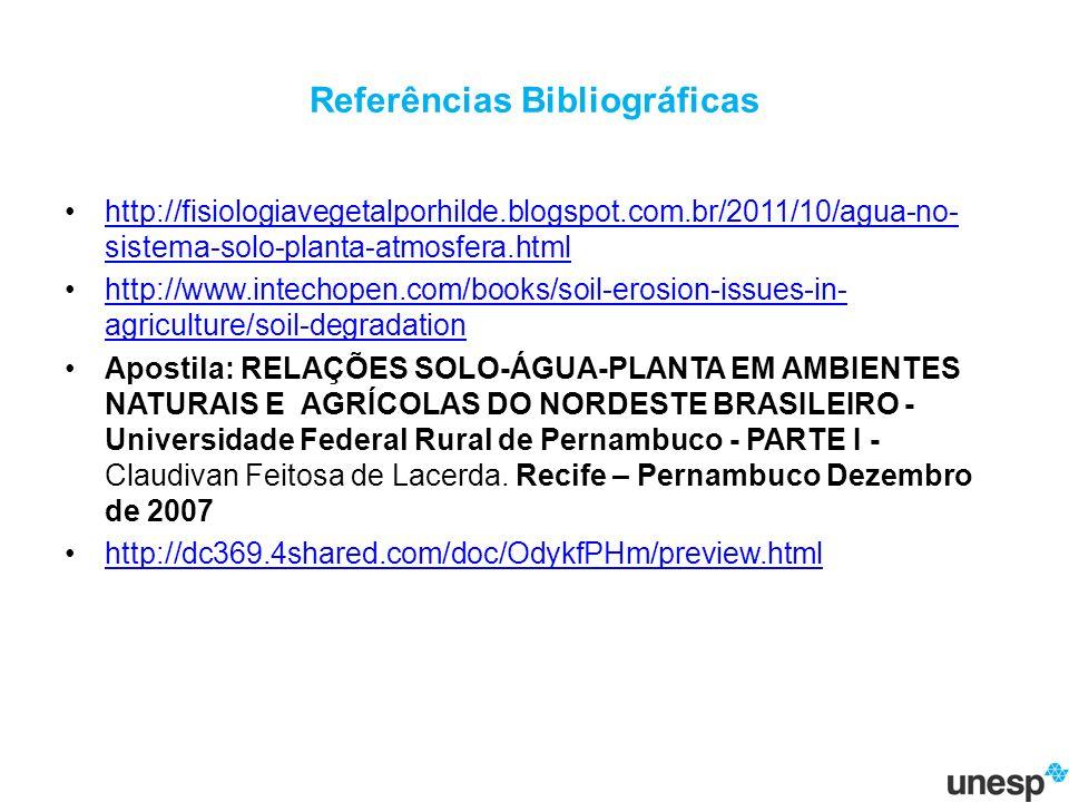 Referências Bibliográficas http://fisiologiavegetalporhilde.blogspot.com.br/2011/10/agua-no- sistema-solo-planta-atmosfera.htmlhttp://fisiologiavegetalporhilde.blogspot.com.br/2011/10/agua-no- sistema-solo-planta-atmosfera.html http://www.intechopen.com/books/soil-erosion-issues-in- agriculture/soil-degradationhttp://www.intechopen.com/books/soil-erosion-issues-in- agriculture/soil-degradation Apostila: RELAÇÕES SOLO-ÁGUA-PLANTA EM AMBIENTES NATURAIS E AGRÍCOLAS DO NORDESTE BRASILEIRO - Universidade Federal Rural de Pernambuco - PARTE I - Claudivan Feitosa de Lacerda.