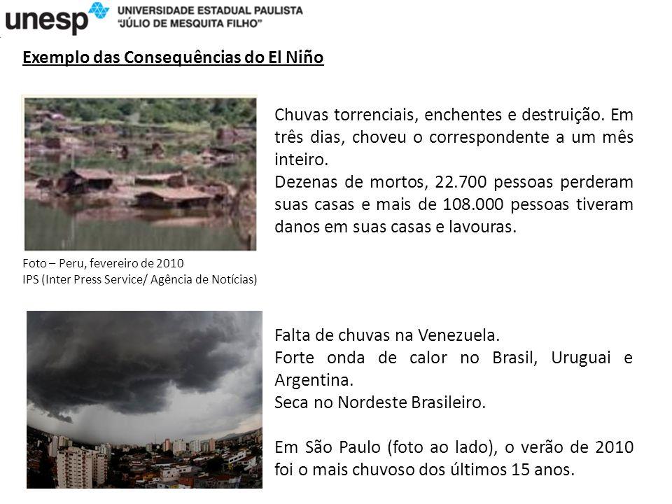 Exemplo das Consequências do El Niño Chuvas torrenciais, enchentes e destruição.