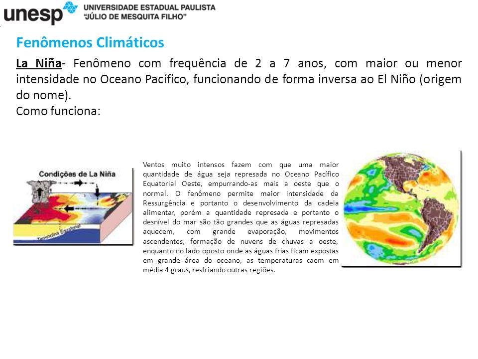 Fenômenos Climáticos La Niña- Fenômeno com frequência de 2 a 7 anos, com maior ou menor intensidade no Oceano Pacífico, funcionando de forma inversa ao El Niño (origem do nome).