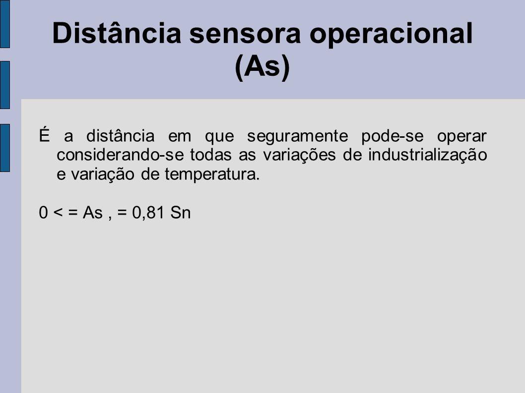 Distância sensora operacional (As) É a distância em que seguramente pode-se operar considerando-se todas as variações de industrialização e variação d