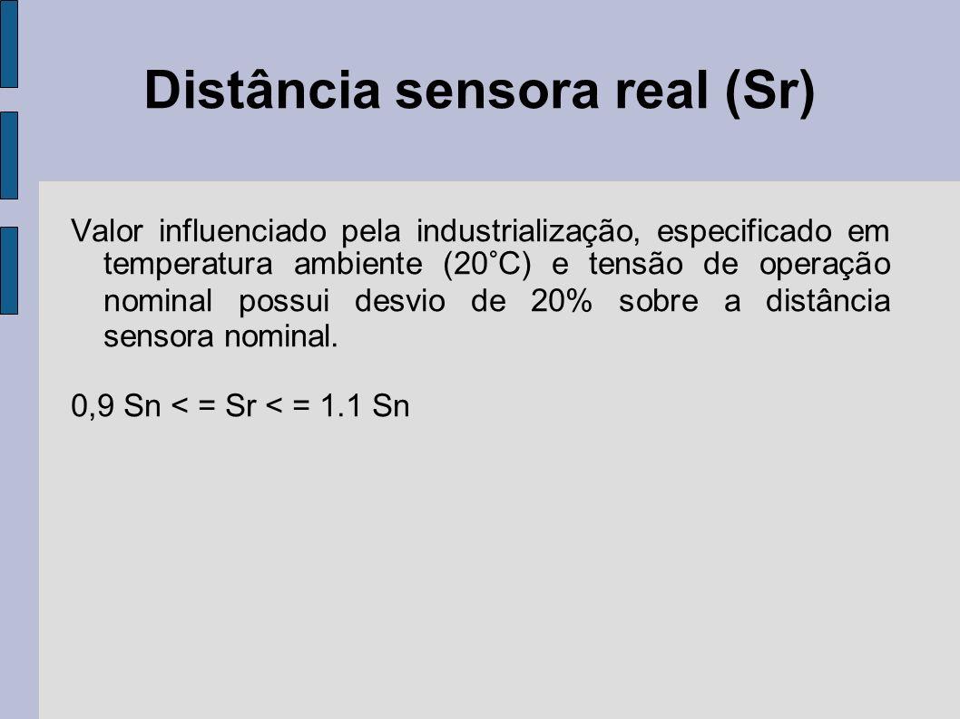 Distância sensora real (Sr) Valor influenciado pela industrialização, especificado em temperatura ambiente (20°C) e tensão de operação nominal possui