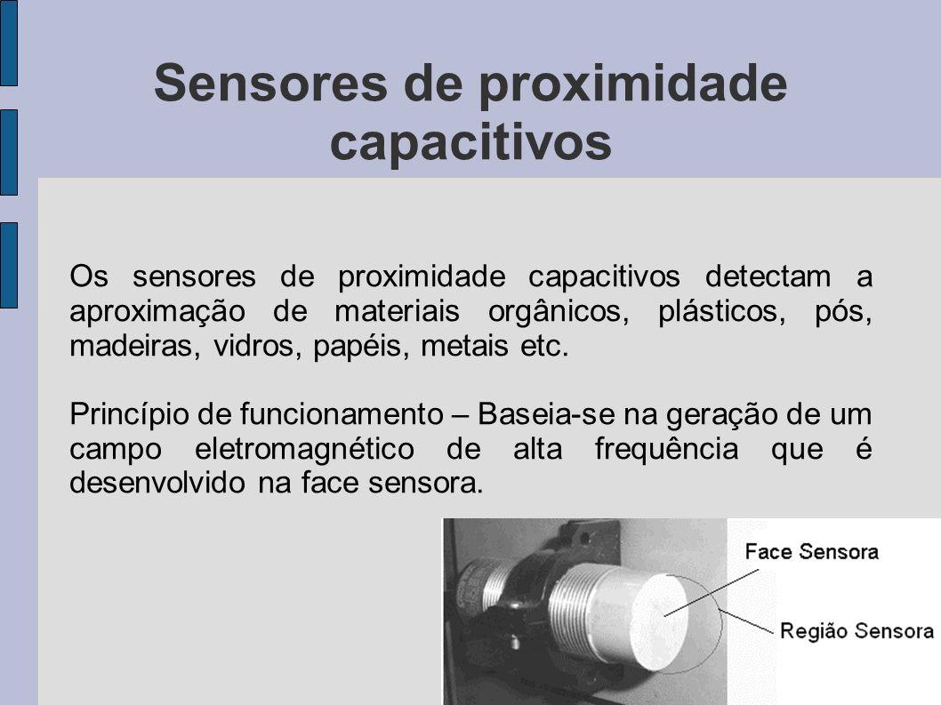 Sensores de proximidade capacitivos Na figura a seguir está mostrado exemplo de conexão de um sensor de aproximação de modelos para corrente contínua.