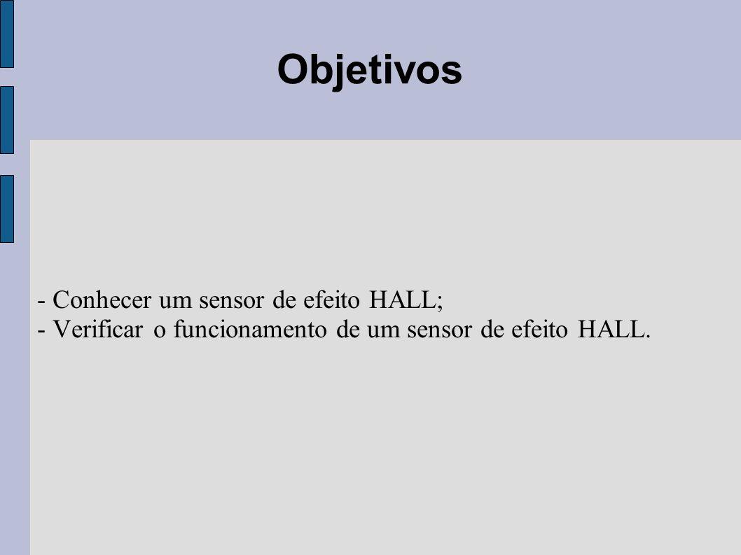 Material utilizado - Módulo: Sensor de Efeito Hall; - Modulo de fonte de alimentação; - Osciloscópio de duplo traço; - Multímetro digital; - Cabinhos de conexão;