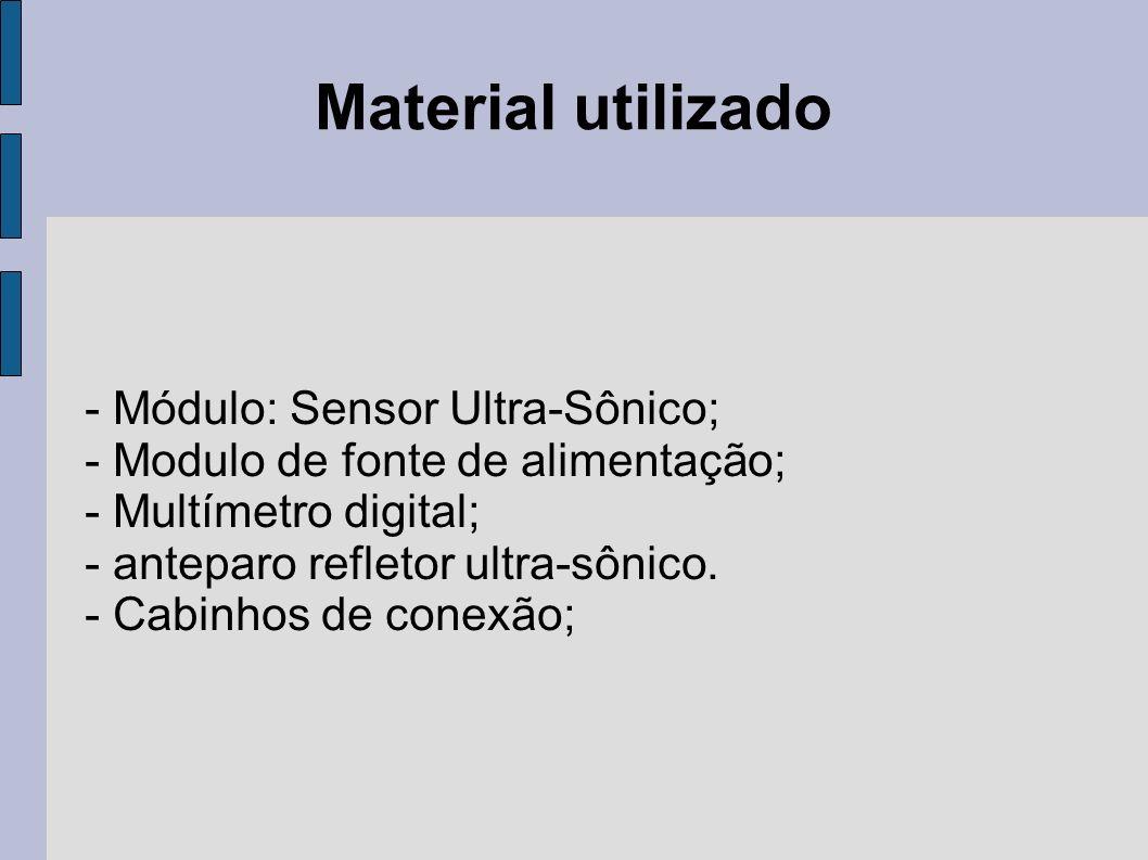 Material utilizado - Módulo: Sensor Ultra-Sônico; - Modulo de fonte de alimentação; - Multímetro digital; - anteparo refletor ultra-sônico. - Cabinhos