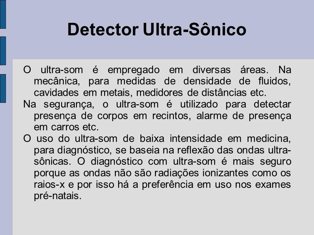 Detector Ultra-Sônico O ultra-som é empregado em diversas áreas. Na mecânica, para medidas de densidade de fluidos, cavidades em metais, medidores de