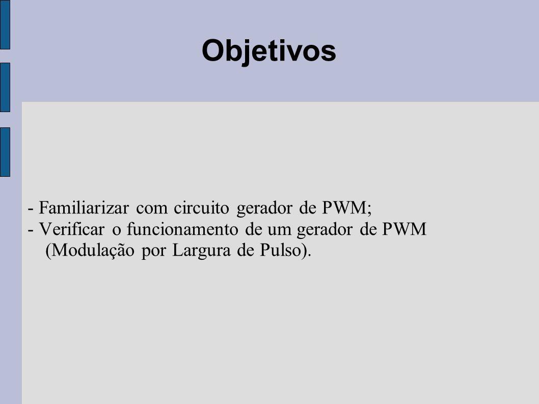 - Familiarizar com circuito gerador de PWM; - Verificar o funcionamento de um gerador de PWM (Modulação por Largura de Pulso). Objetivos