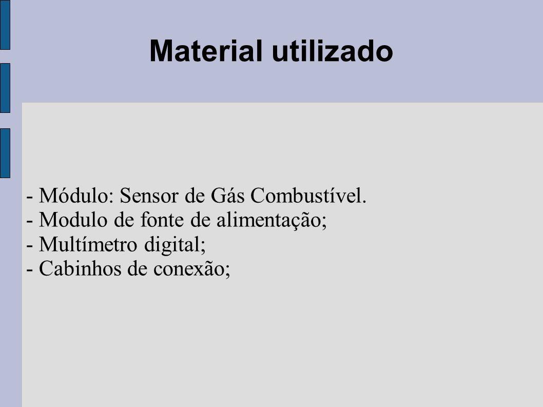 Material utilizado - Módulo: Sensor de Gás Combustível. - Modulo de fonte de alimentação; - Multímetro digital; - Cabinhos de conexão;