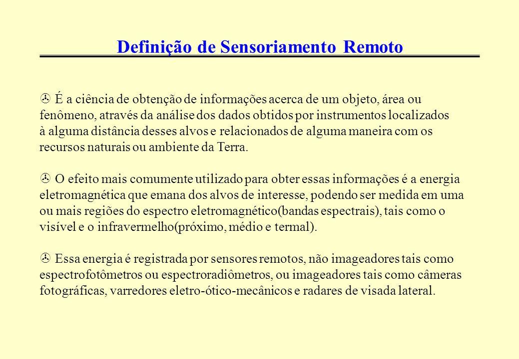 Definição de Sensoriamento Remoto > É a ciência de obtenção de informações acerca de um objeto, área ou fenômeno, através da análise dos dados obtidos por instrumentos localizados à alguma distância desses alvos e relacionados de alguma maneira com os recursos naturais ou ambiente da Terra.
