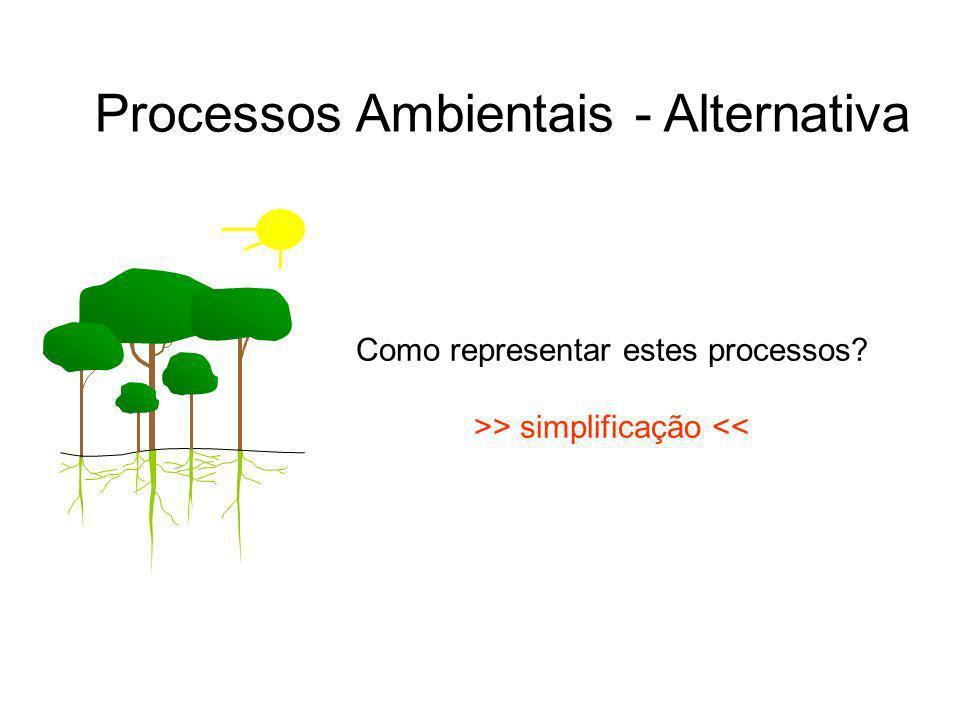 Como representar estes processos? >> simplificação << Processos Ambientais - Alternativa