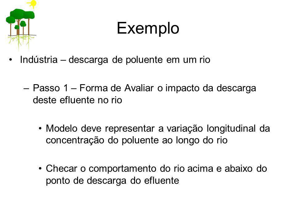 Exemplo Indústria – descarga de poluente em um rio –Passo 1 – Forma de Avaliar o impacto da descarga deste efluente no rio Modelo deve representar a v