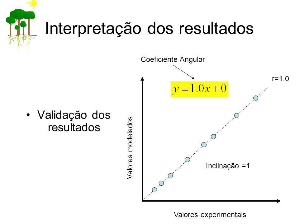 Interpretação dos resultados Validação dos resultados Valores experimentais Valores modelados r=1.0 Inclinação =1 Coeficiente Angular
