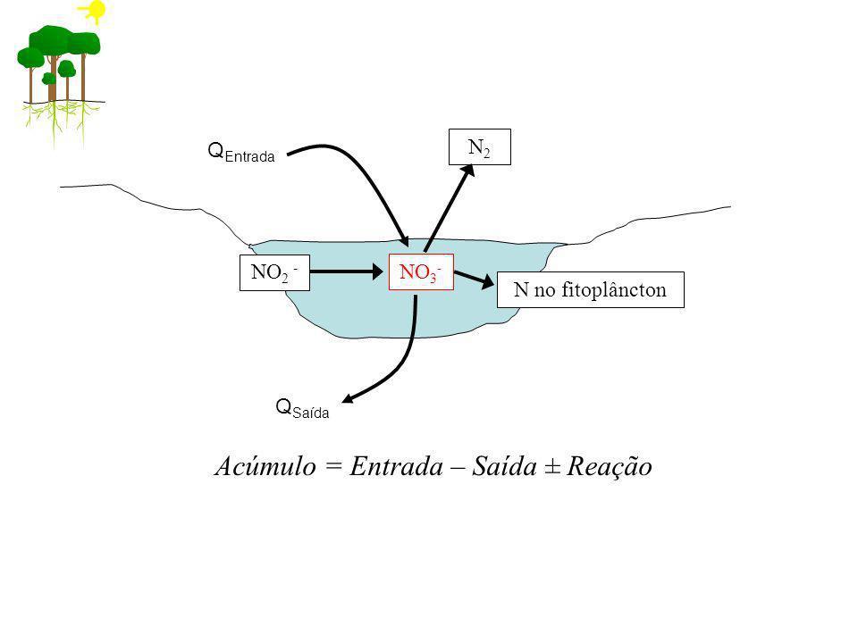 N2N2 Acúmulo = Entrada – Saída ± Reação Q Entrada Q Saída NO 3 - N no fitoplâncton NO 2 -