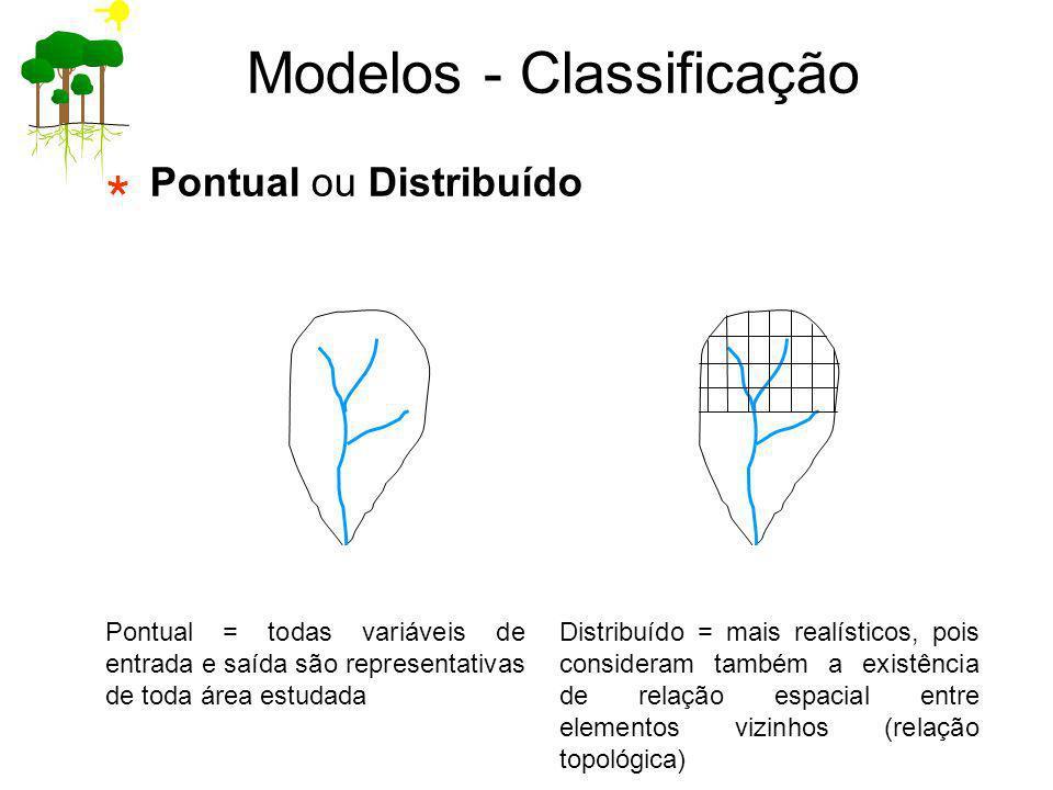 Pontual ou Distribuído Modelos - Classificação Pontual = todas variáveis de entrada e saída são representativas de toda área estudada Distribuído = ma