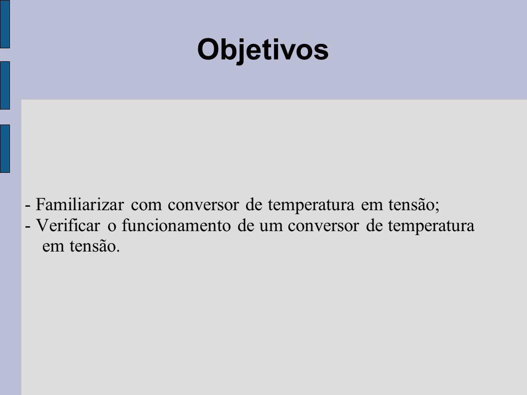 - Familiarizar com conversor de temperatura em tensão; - Verificar o funcionamento de um conversor de temperatura em tensão. Objetivos