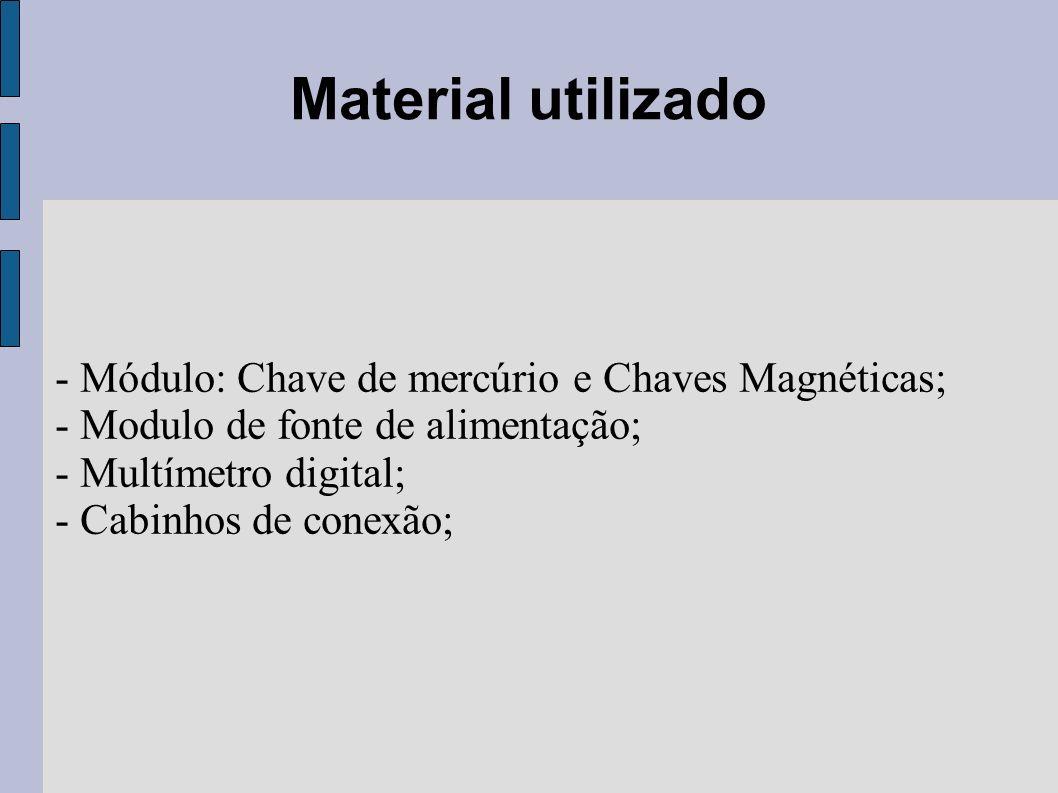 Material utilizado - Módulo: Chave de mercúrio e Chaves Magnéticas; - Modulo de fonte de alimentação; - Multímetro digital; - Cabinhos de conexão;