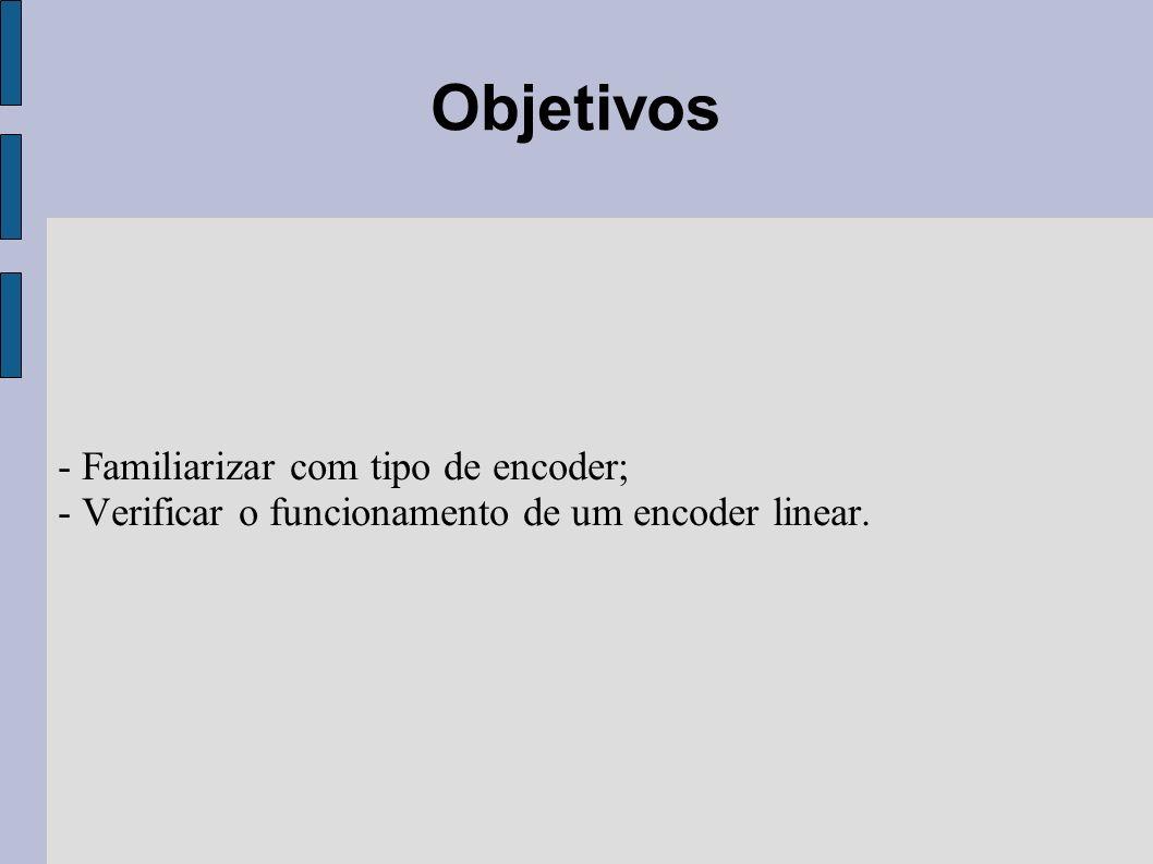 - Familiarizar com tipo de encoder; - Verificar o funcionamento de um encoder linear. Objetivos