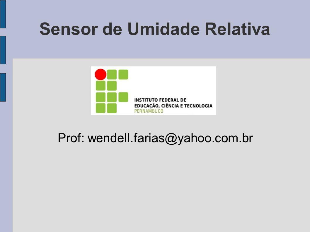 Objetivos - Conhecer um sensor de umidade relativa; - Verificar o funcionamento de um sensor de umidade relativa.