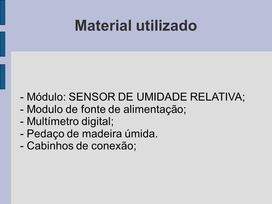 Material utilizado - Módulo: SENSOR DE UMIDADE RELATIVA; - Modulo de fonte de alimentação; - Multímetro digital; - Pedaço de madeira úmida. - Cabinhos