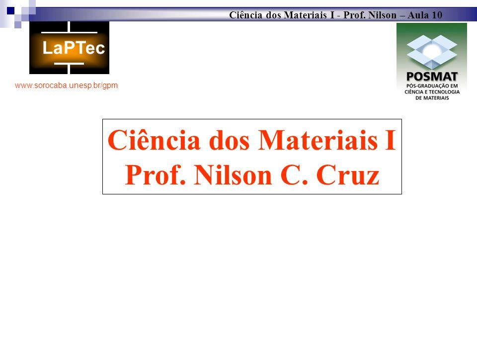 Ciência dos Materiais I - Prof. Nilson – Aula 10 www.sorocaba.unesp.br/gpm Ciência dos Materiais I Prof. Nilson C. Cruz