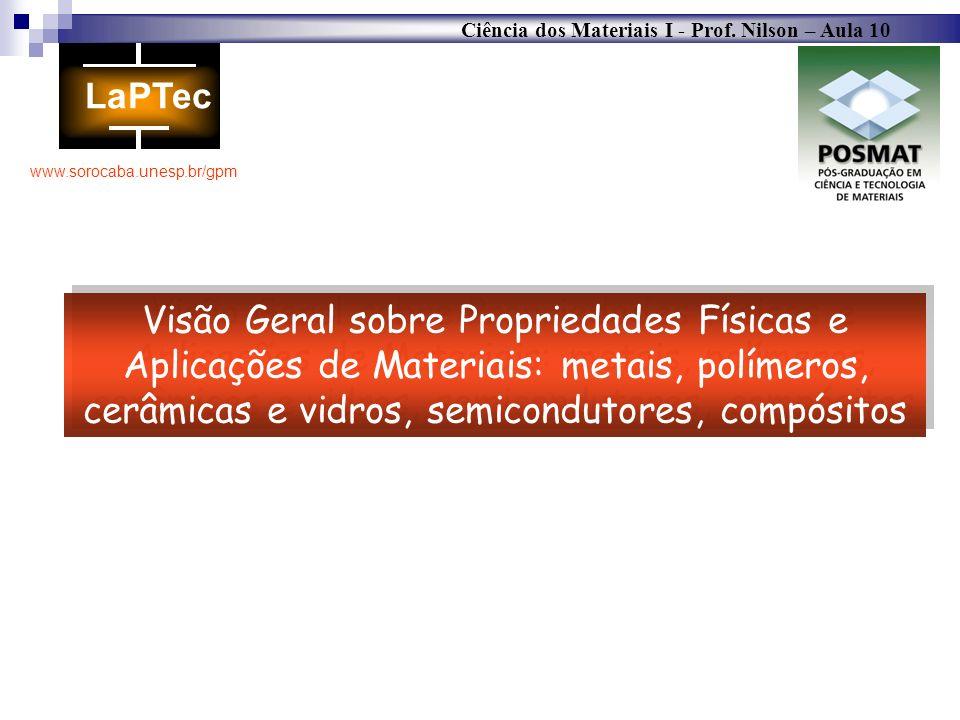 Ciência dos Materiais I - Prof. Nilson – Aula 10 www.sorocaba.unesp.br/gpm Visão Geral sobre Propriedades Físicas e Aplicações de Materiais: metais, p