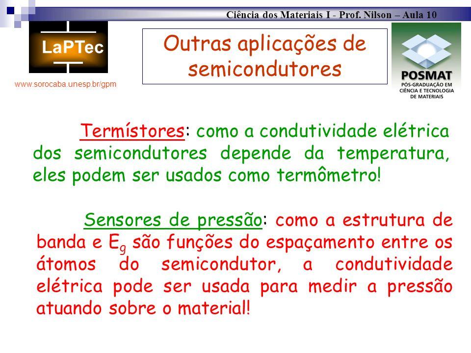 Ciência dos Materiais I - Prof. Nilson – Aula 10 www.sorocaba.unesp.br/gpm Outras aplicações de semicondutores Termístores: como a condutividade elétr