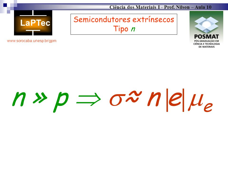 Ciência dos Materiais I - Prof. Nilson – Aula 10 www.sorocaba.unesp.br/gpm Semicondutores extrínsecos Tipo n n » p n e e