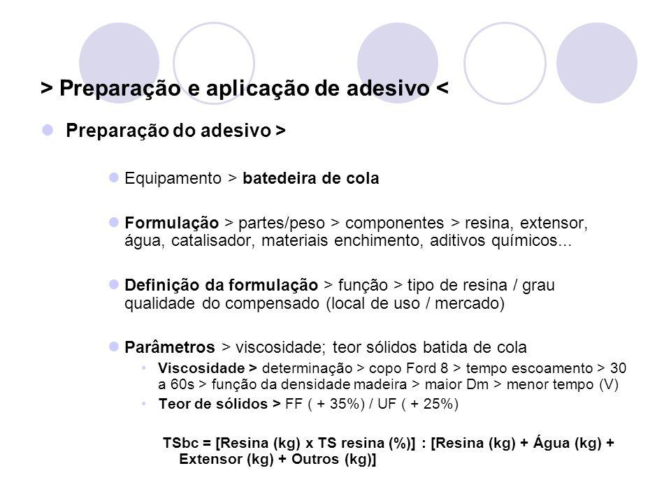 > Preparação e aplicação de adesivo < Preparação do adesivo > Equipamento > batedeira de cola Formulação > partes/peso > componentes > resina, extenso