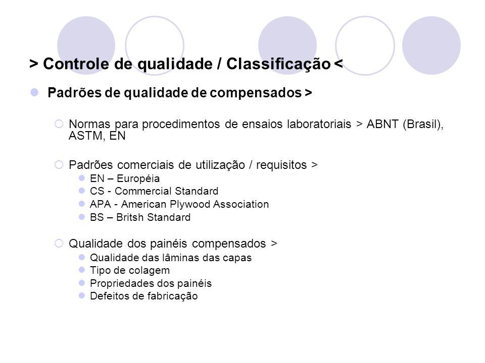 > Controle de qualidade / Classificação < Padrões de qualidade de compensados > Normas para procedimentos de ensaios laboratoriais > ABNT (Brasil), AS