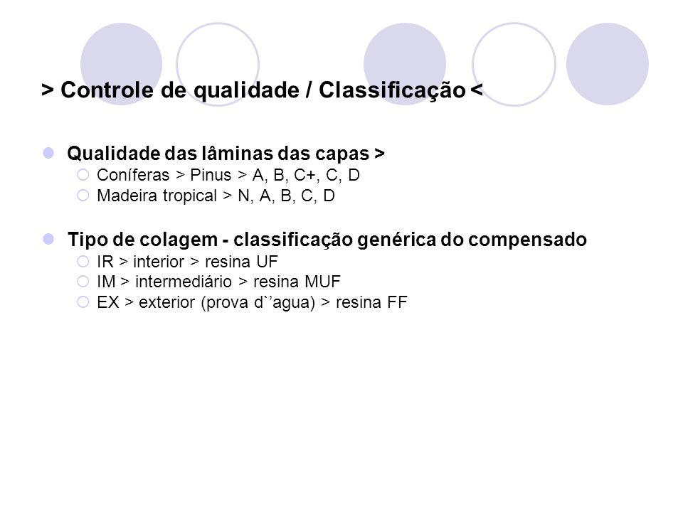 > Controle de qualidade / Classificação < Qualidade das lâminas das capas > Coníferas > Pinus > A, B, C+, C, D Madeira tropical > N, A, B, C, D Tipo d