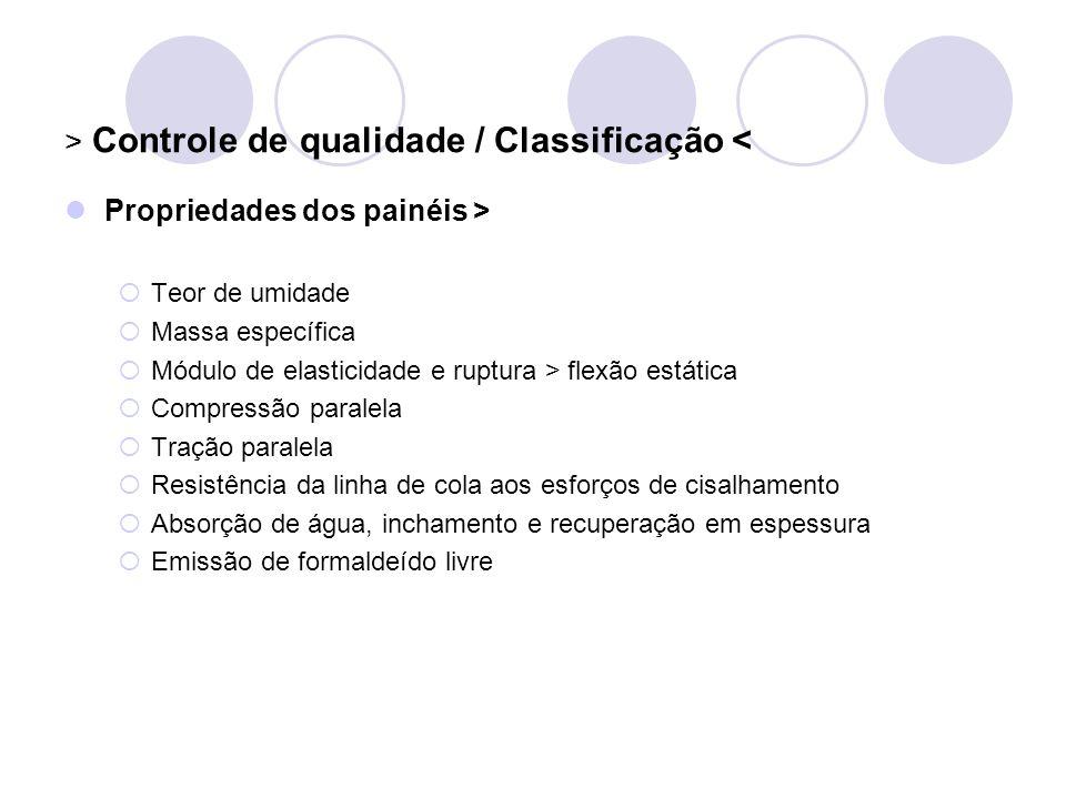 > Controle de qualidade / Classificação < Propriedades dos painéis > Teor de umidade Massa específica Módulo de elasticidade e ruptura > flexão estáti