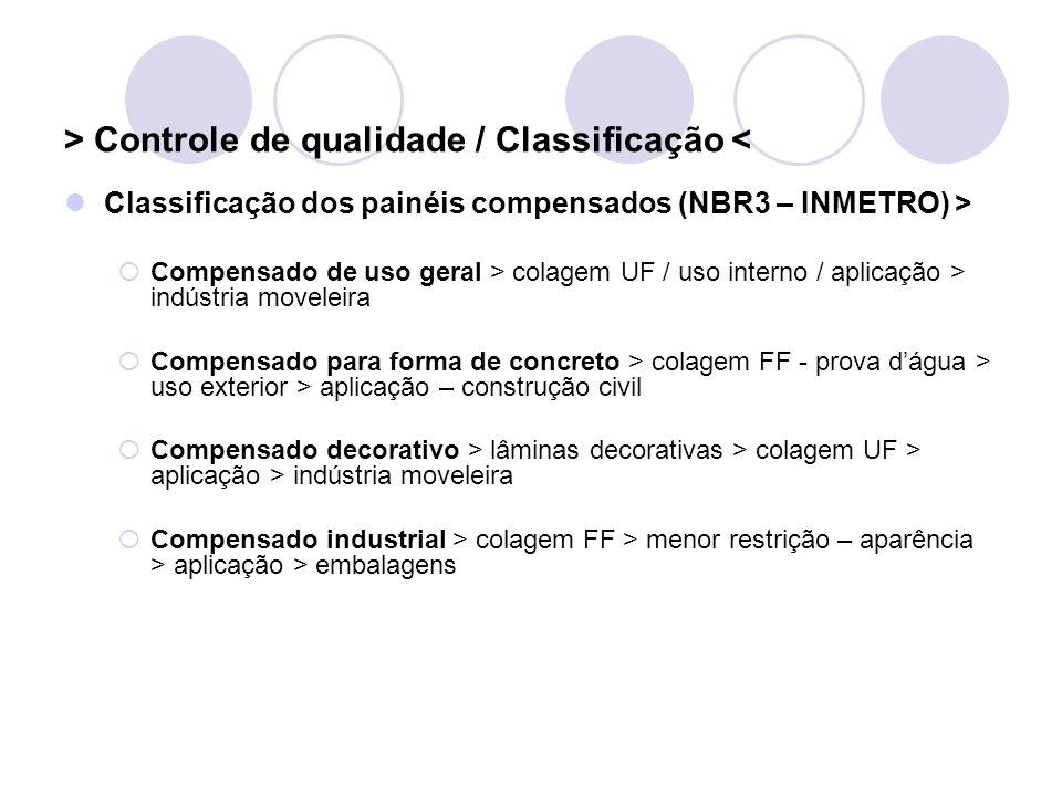 > Controle de qualidade / Classificação < Classificação dos painéis compensados (NBR3 – INMETRO) > Compensado de uso geral > colagem UF / uso interno