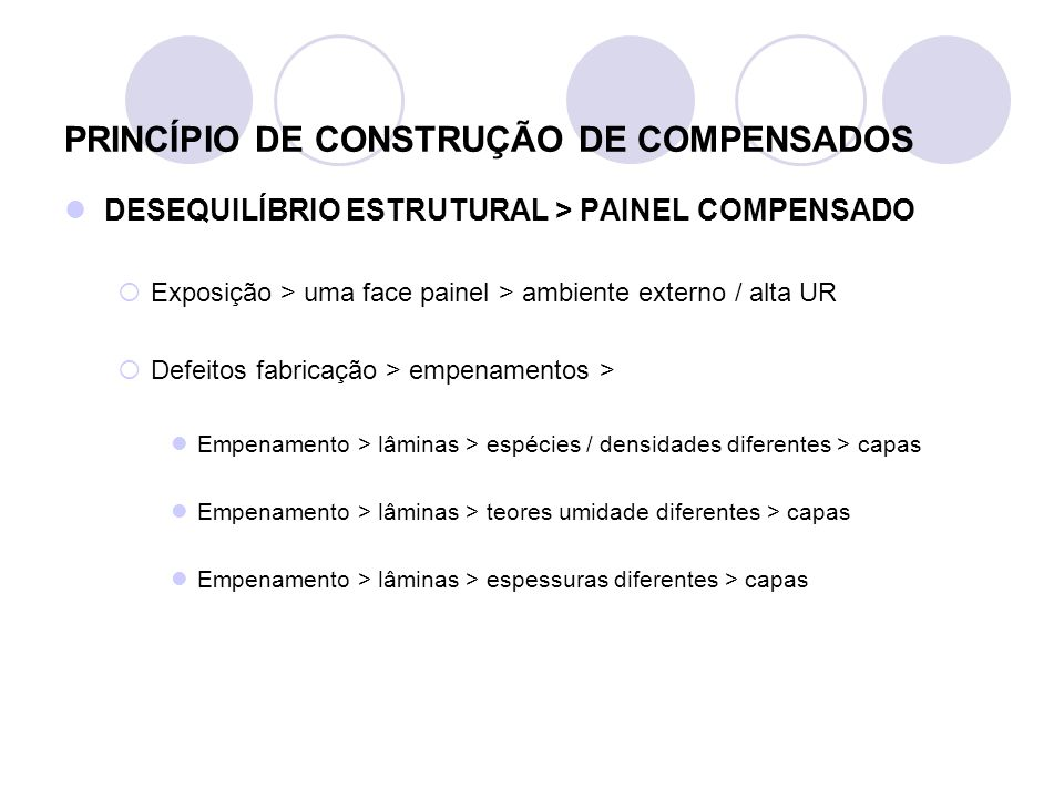PRINCÍPIO DE CONSTRUÇÃO DE COMPENSADOS DESEQUILÍBRIO ESTRUTURAL > PAINEL COMPENSADO Exposição > uma face painel > ambiente externo / alta UR Defeitos