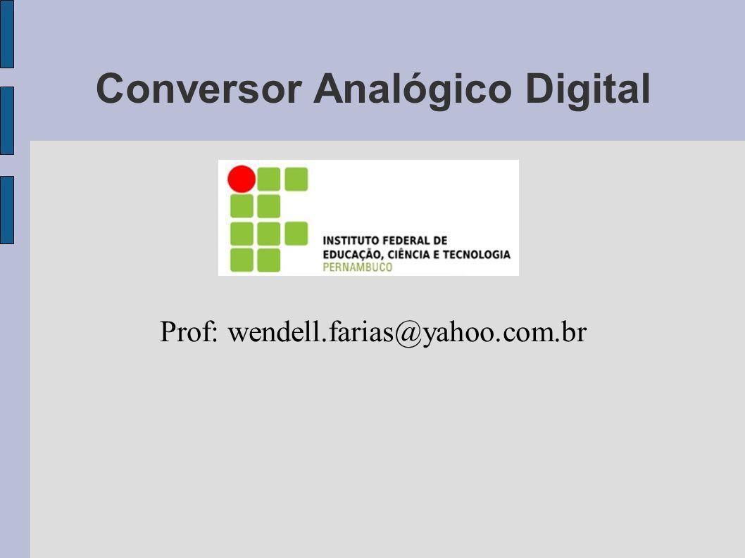 Conversor Analógico Digital Prof: wendell.farias@yahoo.com.br