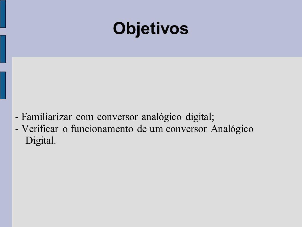 - Familiarizar com conversor analógico digital; - Verificar o funcionamento de um conversor Analógico Digital. Objetivos