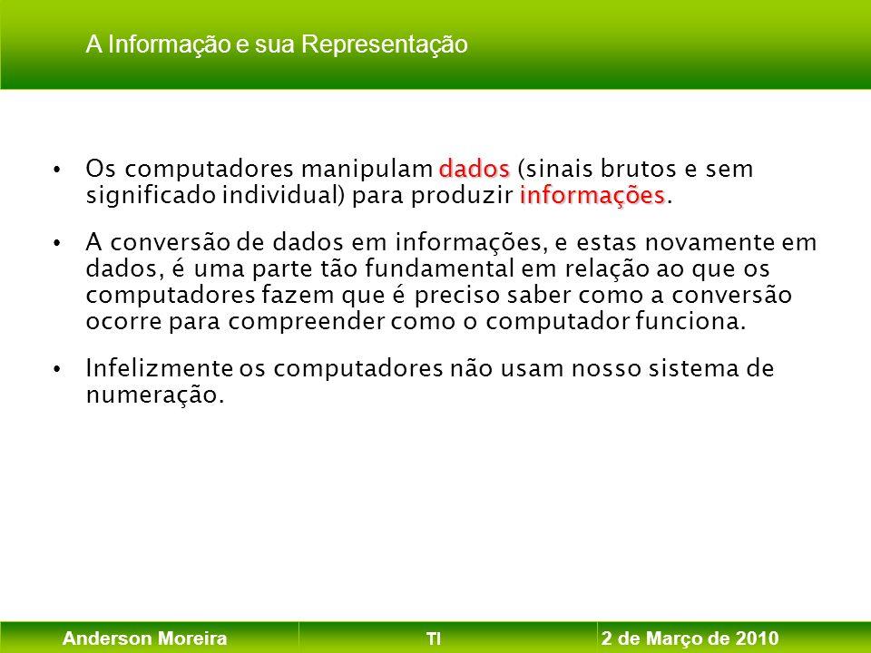Anderson Moreira TI 2 de Março de 2010 dados informações Os computadores manipulam dados (sinais brutos e sem significado individual) para produzir in