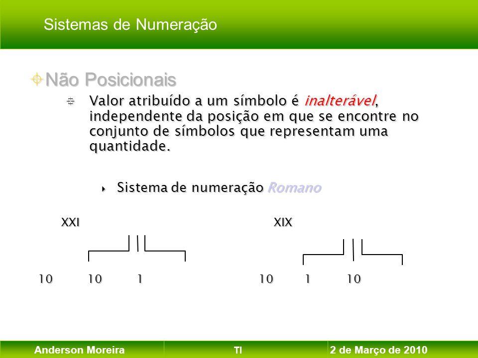 Anderson Moreira TI 2 de Março de 2010 Não Posicionais Não Posicionais Valor atribuído a um símbolo é inalterável, independente da posição em que se e