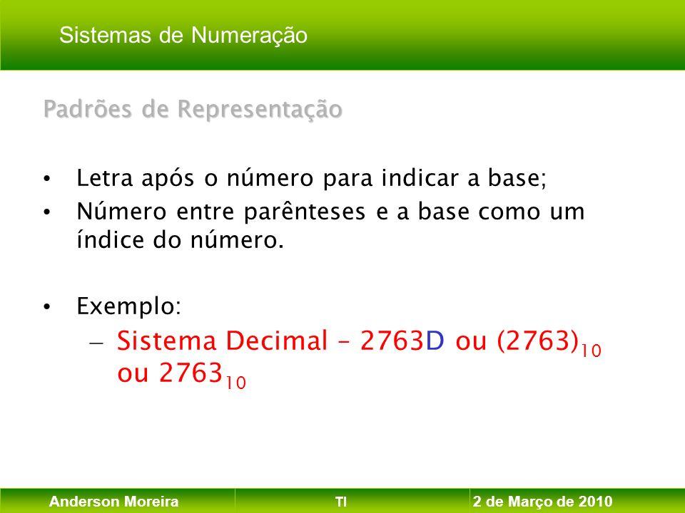Anderson Moreira TI 2 de Março de 2010 Padrões de Representação Letra após o número para indicar a base; Número entre parênteses e a base como um índi