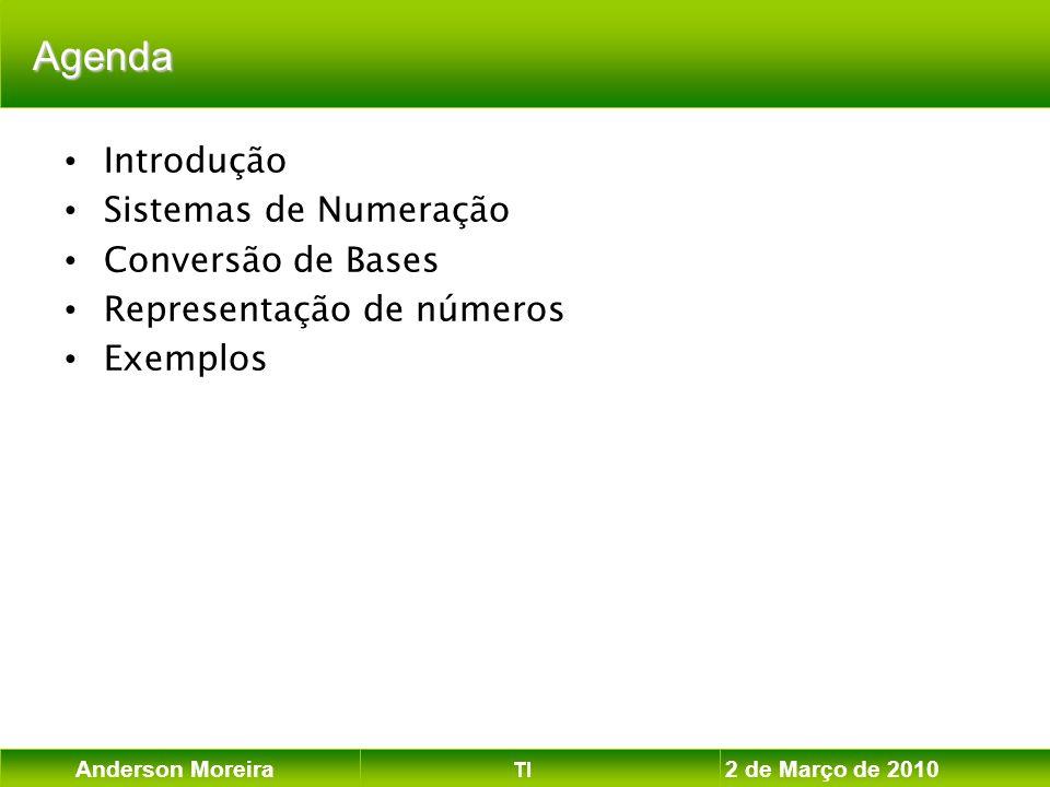 Anderson Moreira TI 2 de Março de 2010 Conversão entre Sistemas de Numeração divisão Procedimentos básicos: - divisão polinômio (números inteiros) - polinômio agrupamento de bits - agrupamento de bits OCTAL Sistemas de Numeração