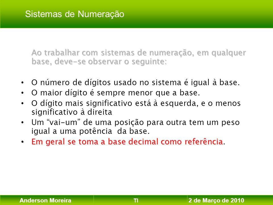 Anderson Moreira TI 2 de Março de 2010 Ao trabalhar com sistemas de numeração, em qualquer base, deve-se observar o seguinte: O número de dígitos usad