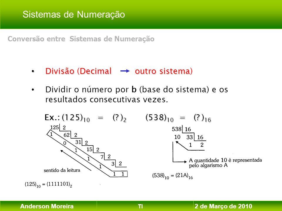 Anderson Moreira TI 2 de Março de 2010 DivisãoDecimaloutro sistema Divisão (Decimal outro sistema) Dividir o número por b (base do sistema) e os resul