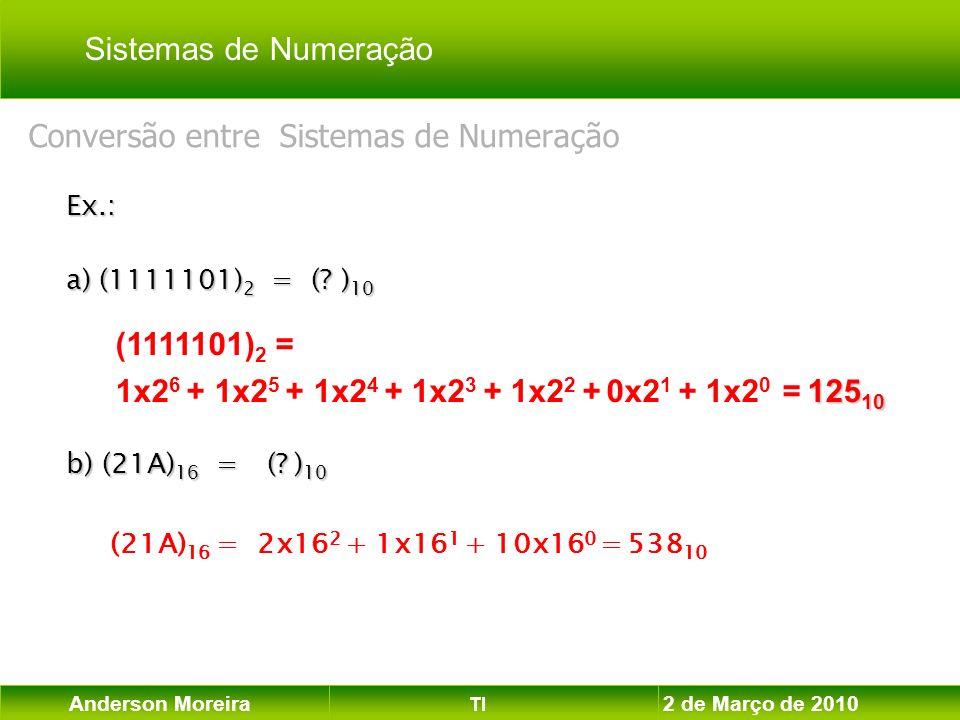 Anderson Moreira TI 2 de Março de 2010 Ex.: a) (1111101) 2 = (? ) 10 b) (21A) 16 = (? ) 10 (21A) 16 = 2x16 2 + 1x16 1 + 10x16 0 = 538 10 (1111101) 2 =