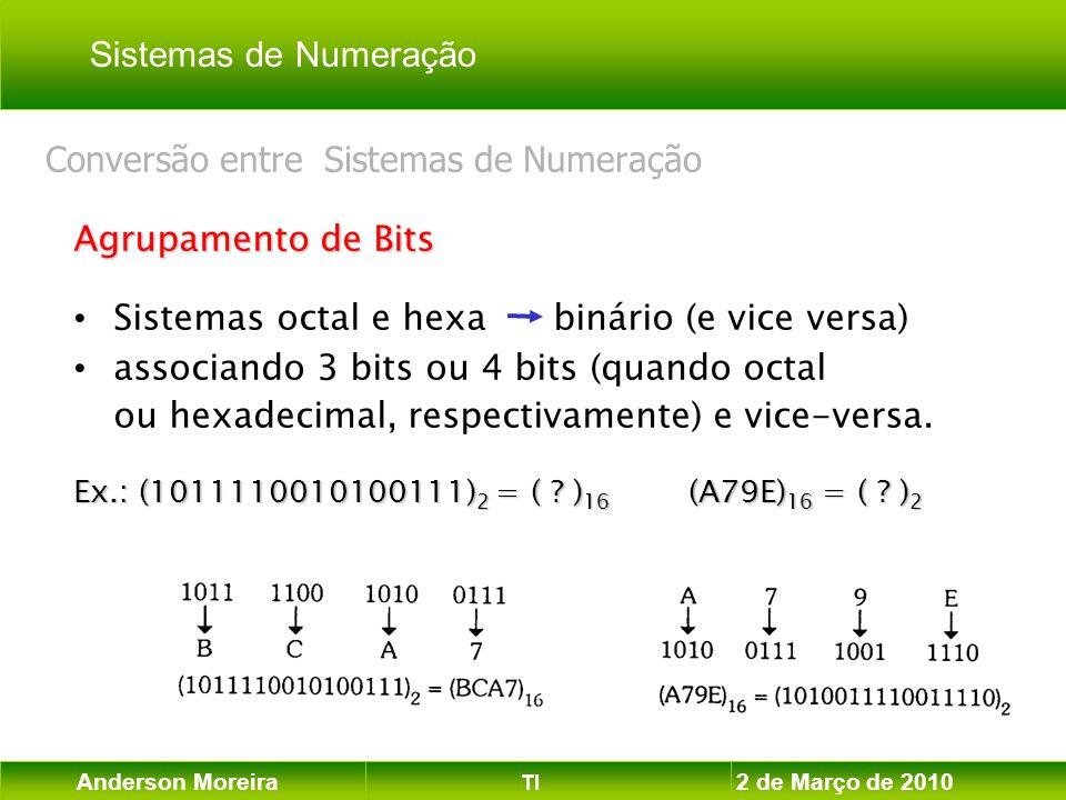 Anderson Moreira TI 2 de Março de 2010 Agrupamento de Bits Sistemas octal e hexa binário (e vice versa) associando 3 bits ou 4 bits (quando octal ou h