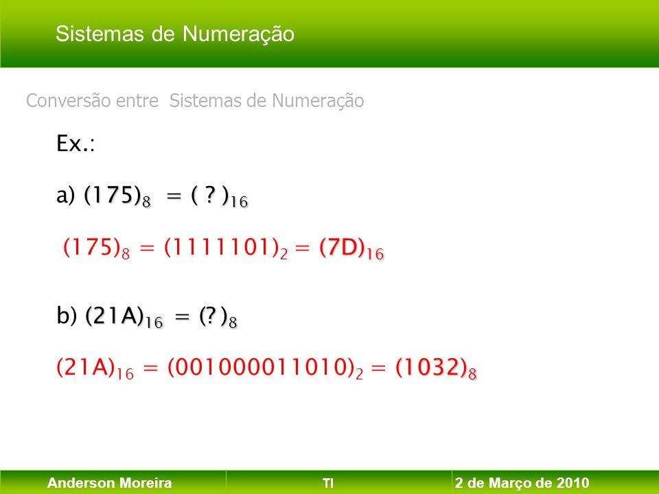 Anderson Moreira TI 2 de Março de 2010 Ex.: (175) 8 = ( ? ) 16 a) (175) 8 = ( ? ) 16 (7D) 16 (175) 8 = (1111101) 2 = (7D) 16 (21A) 16 = (? ) 8 b) (21A