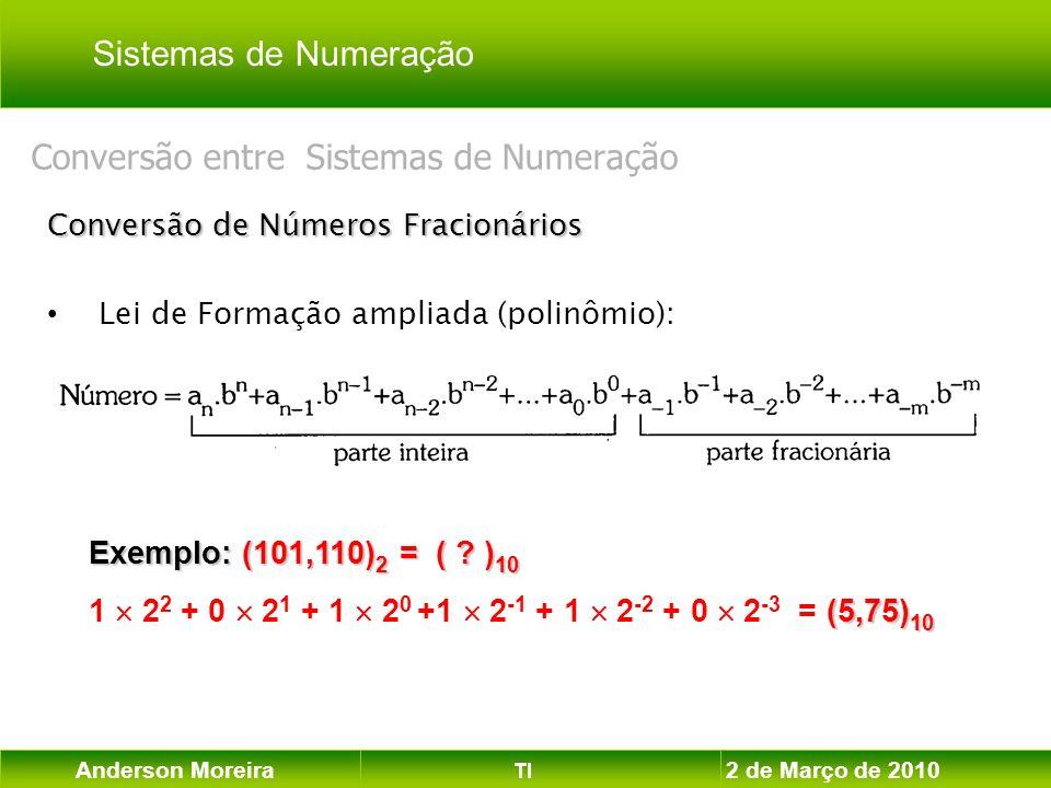 Anderson Moreira TI 2 de Março de 2010 Conversão de Números Fracionários Lei de Formação ampliada (polinômio): Conversão entre Sistemas de Numeração E