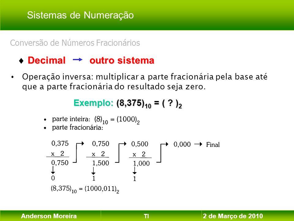 Anderson Moreira TI 2 de Março de 2010 Conversão de Números Fracionários Operação inversa: multiplicar a parte fracionária pela base até que a parte f